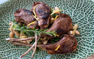 Lemon Garlic Lamb Chops with Spinach and Cannellini Beans