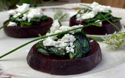 Wilted Spinach with Wild Garlic, Crumbled Feta on Honey Roasted Beetroot Discs