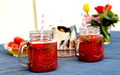 Strawberry Honey Hibiscus Iced Tea