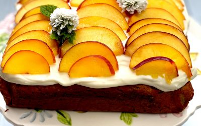 Nectarine & Poppy Seed Cake with Vanilla Frosting