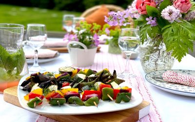 Chargrilled Vegetable Kebabs with Lemon Mayo